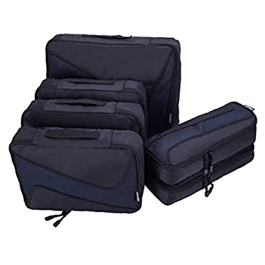6 Set Packing Cubes - 3 Various Sizes Luggage Packing Organizers For Travel (Black)