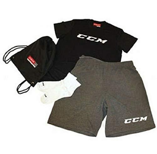 CCM Dryland Kit Spieler Set Junior Set für Textilien fürs Eishockey mit T-Shirt, über Baumwollensocken Short und Tasche (Junior-140-M)