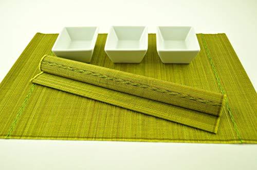 4 faite à la main en bambou Sets de table, sets de table avec fine de qualité, Lot de 4, Vert pistache, Pj001