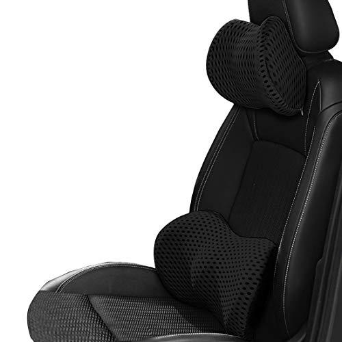 Wishlanlan 2 pcs Ergonomics Concept Memory Foam Car Neck Pillow Lumbar Support Back Headrest Seat(Package Includes: 1 pcs Car Neck Pillow and 1 pcs Lumbar Support Back Cushion (Black)