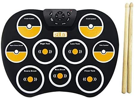 Portable Hand Roll Silicone Electronic Hand Drum Percussion Instruments Ondersteuning externe koptelefoon for muziekliefhebbers (Kleur: Zwart) 8bayfa (Color : Black)