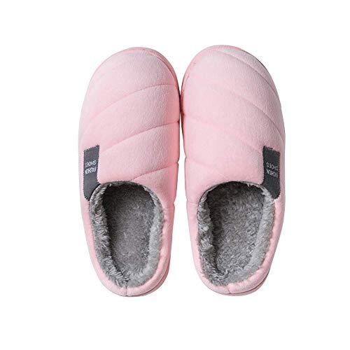 Zapatillas de casa unisex de invierno, suaves, antideslizantes, cálidas, de peluche, de algodón, para casa, patines para mujer, hombres y niños Rosa Size: 37 EU