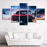 QWASD Cuadro Lienzo Pintura 5 Piezas Pared Pintura Impresión Arte para Hogar Salón Oficina Mordern Decoración Regalo Wall Art Poster Mural Demonio Dodg Challenger