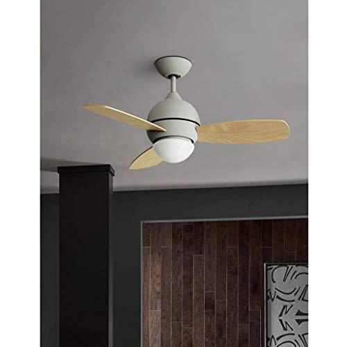 Ventilador de techo de altura ajustable con luz y control remoto, marco de hierro mate industrial con 3 cuchillas de plástico reversibles, 3 velocidades, función de sincronización (color : Gray)