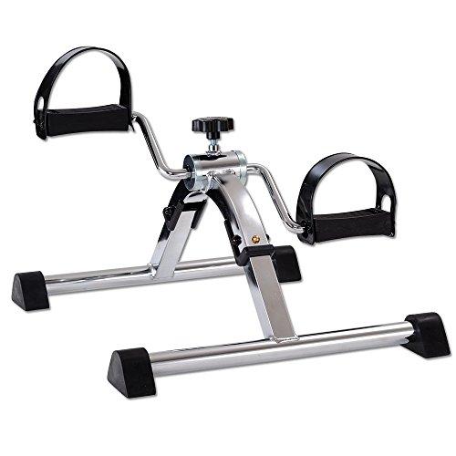 maxVitalis Faltbarer Pedaltrainer Heimtrainer Fitnessgerät Mini-Bike Bewegungstrainer Armtrainer Beintrainer Trainingsgerät Silber