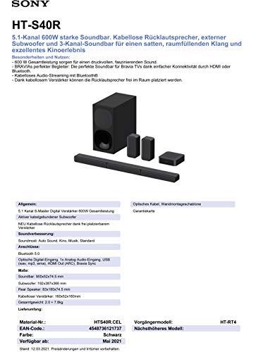 Sony HT-S40R - 5.1.-Kanal-Soundbar (inkl. kabelgebundenem Subwoofer, kabellosen Rear-Lautsprechern, Bluetooth, Surround Sound, Dolby Digital), Schwarz