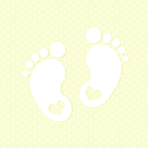Maki Tovaglioli Napkins, 33 x 33 cm, 20 Pezzi. Confezione. Tovaglioli per Neonati e Battesimi Little Feet Cream