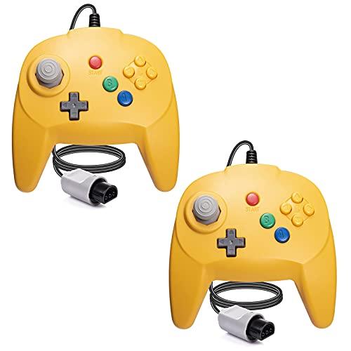 [Nueva versión] 2 paquetes para controlador N64, mando de juego para N64 – Plug & Play (versión USB no PC) (Joystick del Japón), color amarillo