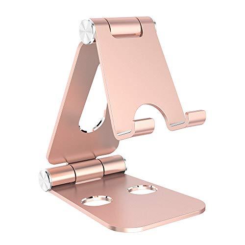 Simpeak Handy Ständer Verstellbare, Faltbar Aluminum Tablet Ständer Verstellbar Kompatibel mit 4-10 Zoll Handys und Tablets - Champagner Gold