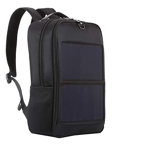 Black Solar Rucksack 14w Solar Panel Power Backpack Laptop Bag with...