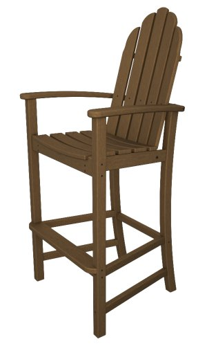 POLYWOOD Adirondack Bar Height Chair, Teak