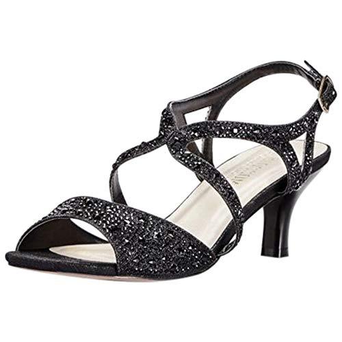 David's Bridal Strappy Heels with Iridescent Gems Style BERK183, Black, 5.5
