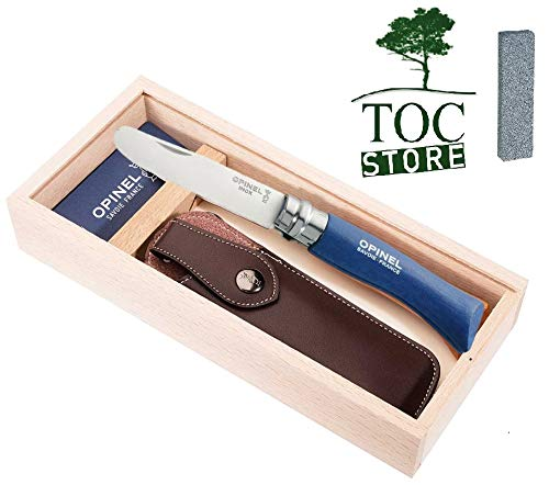 TOC STORE Opinel Kindermesser Set Farbe blau inkl. Etui, Schleifstein und Geschenkbox aus Holz