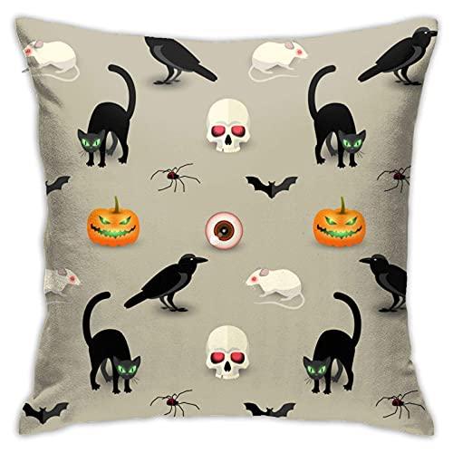 XCNGG Funda de Almohada Tradicional de Halloween Decorativa para el hogar para Sala de Estar, Dormitorio, sofá, Silla, Funda de Almohada de 18X18 Pulgadas, 45X45cm