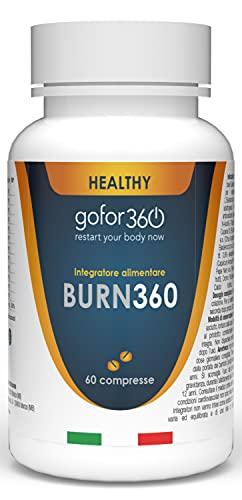 BURN360 | Brucia Grassi Dimagrante Forte Naturale e Concentrato per Aiutarti nel Percorso di Dieta e Drenare i Liquidi in Eccesso | gofor360