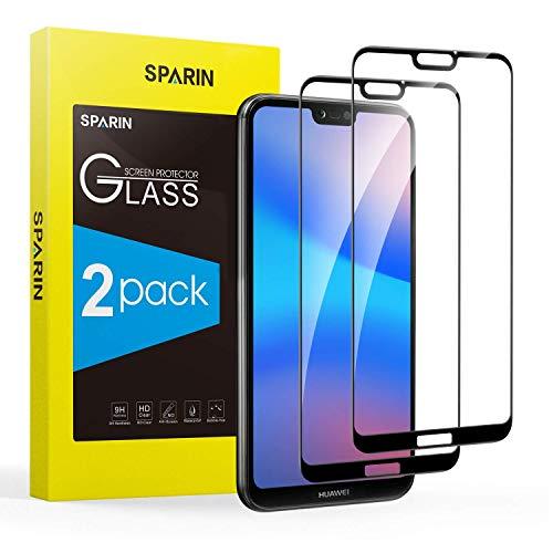 SPARIN [2 Stück Panzerglas Schutzfolie für Huawei P20 lite, mit [9H Härte] [Anti-Kratzen] [Blasenfrei] [HD Klar] [volle Bedeckung] [Schwarz]