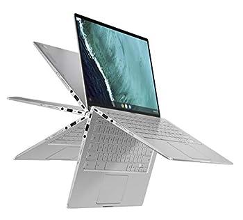 ASUS Chromebook Flip C434 2 in 1 Laptop 14  Touchscreen FHD 4-Way NanoEdge Display Intel Core M3-8100Y Processor 4GB RAM 32GB eMMC Storage Backlit Keyboard Silver Chrome OS C434TA-DH342T