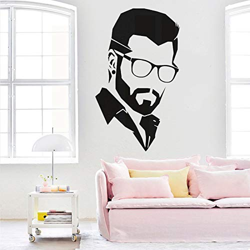 jtxqe Handsome Man Hairdresser Hair Salon Barbershop Bearded Man Wall Poster Wall Decal Sticker Quotes Removable Wall Stickers Used For Bedroom And Living Room Decoration 42X71Cm