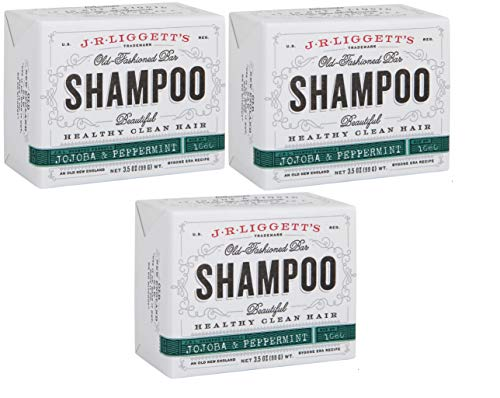 J·R·LIGGETT'S All-Natural Shampoo Bar, Jojoba & Peppermint Formula-Supports Strong & Healthy Hair-Nourish Follicles with Antioxidants & Vitamins-Detergent and Sulfate-Free, Set of Three,3.5 Ounce Bars
