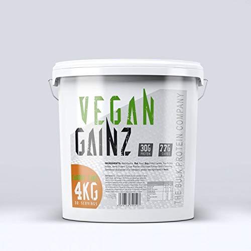 The Bulk Protein Company Vegan Gainz Protein Powder 4kg - Plant Based Protein - Weight Gainer - 30g Per Serving - Carrot Cake | Orange