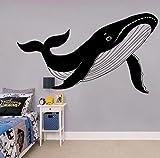 Pegatina de pared de animales náuticos de ballena geométrica grande para sala de juegos, guardería, dibujos animados, ballena, marín, peces de mar, pegatina de pared, vinilo de dormitorio 98 x 57 cm