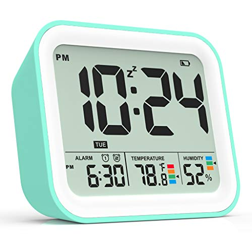 FULLWILL Digital Alarm Clock, Dual Smart Alarm with Workdays/Weekends Setting,Battery Operated, Snooze, Small Travel Clock with Indoor Thermometer/Hygrometer, Dimmable LED Backlight, Handheld Size