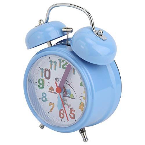 Uxsiya Reloj despertador de plástico Vintage Timbre Bell Night Luminoso Despertador electrónico Niño Inicio (azul)