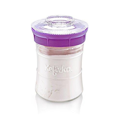 Kefirko | Kefir Fermenter Starter Kit, Machen Sie einfach Milch und Wasser Kefir zu Hause 848 ml (Violett)