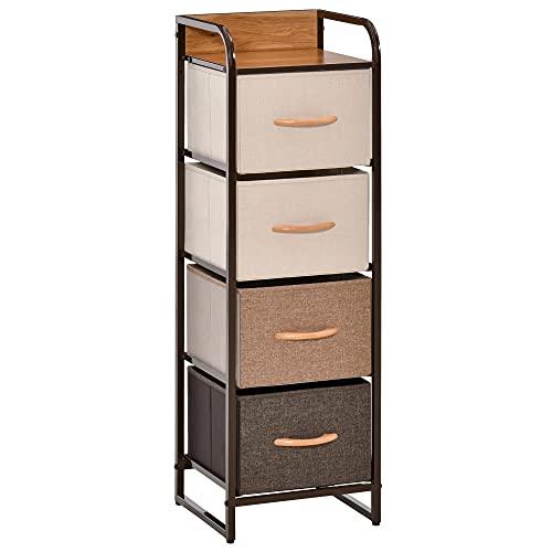 HOMCOM Cómoda de Tela con 4 Cajones Extraíbles y Plegables Base Elevada Mueble de Almacenamiento para el Dormitorio Salón 31x29x99 cm Multicolor
