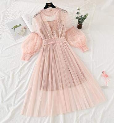 TSEINCE Lace Mesh Patchwork Zweiteilige Bluse + Kleid Perspektive Verano Frühling Herbst gefälschte Perlen Perlen Jupe 69394 One Size pink