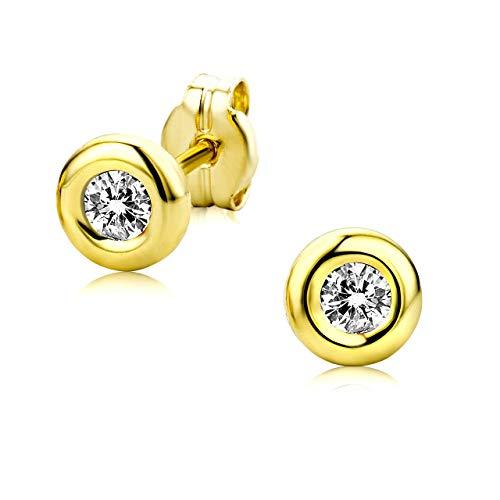 Orovi Damen Ohrstecker 9 Karat – Glänzende Ohrringe aus 375 Gelbgold mit 2 farblosen Zirkonia-Steinen – Ohrschmuck klein Ø 5,5 mm