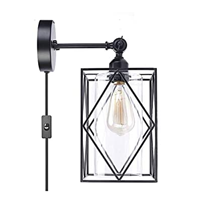 HMVPL 180 Degrees Adjustable Wall Light, Industrial Plug in Wall Sconce Wire Cage Lighting E26 with On/Off Switch and Glass lamp Shade, Vintage Farmhouse Fixture for Headboard Kitchen Island Bedroom