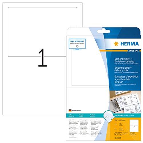 HERMA 8316 Versandetiketten mit Einlieferungsbeleg DIN A4 (182 x 130 mm, 25 Blatt, Papier, matt) selbstklebend, bedruckbar, permanent haftende Adress-Etiketten, 25 Klebeetiketten, weiß
