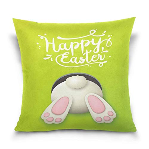 But why miss Throw Pillow Case Decorative Cushion Cover Square Pillowcase, Happy Easter Day Funny Rabbit Bunny Sofa Bed Pillow Case Cover(18x18inch) Twin Sides