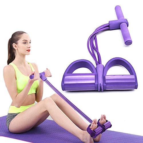 ZCZY Cuerda de Tensión Multifunción,4 Tubos elástico pedal de pie banda de entrenamiento,entrenador de abdomen, cintura, brazo, gimnasio en casa, sit-up,yoga, estiramiento y adelgazamiento