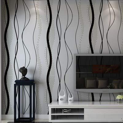 Schwarz Grau Gewellte Vliesstoff Tapete Vertikal Gestreiften Schlafzimmer Wohnzimmer Wohnzimmer Tv-hintergrund Wand Papier 10m*0.53m/roll pro