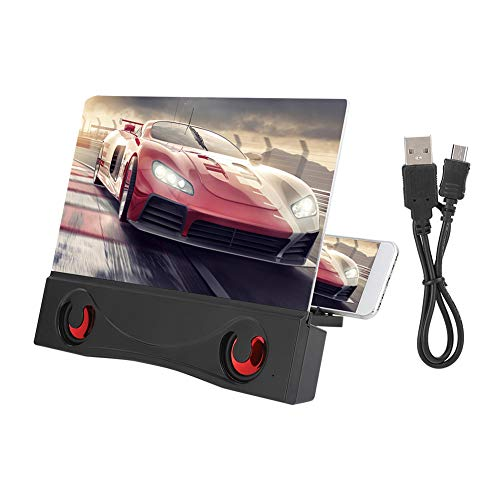 Vbestlife Lupa de Pantalla, teléfono móvil de 12 Pulgadas Proyector de Video 3D HD Amplificador de Pantalla con Altavoz Bluetooth: Compatible con Todos los teléfonos Inteligentes(Negro)