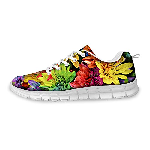 FOR U DESIGNS Colorful Floral Print Light Weight Fashion Sneaker Mesh Flex Trail Running Shoes Women US 9