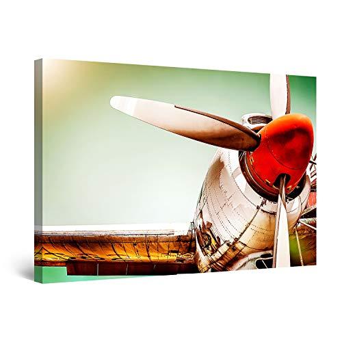 Startonight Bilder Goldener Flugzeug Roter Propeller - Leinwandbilder Moderne Kunst - Abstrakte Wanddeko Kunstdrucke, Wandbilder XXL 80 x 120 cm, Tag Nacht Bild