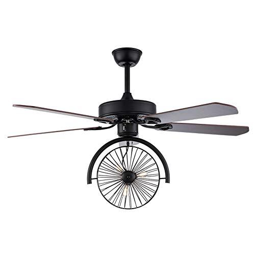 Ventilador de techo de 52 pulgadas con iluminación y mando a distancia, ventilador de madera monociclo – sin fuente de luz E27 * 3