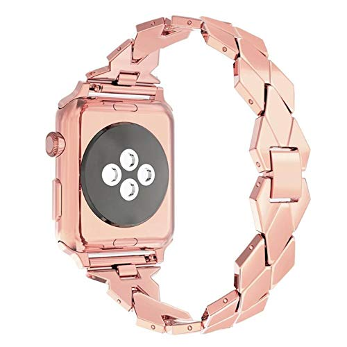 YGGFA Correa de acero inoxidable para Apple Watch Band 44mm 42mm iwatch serie 6 se 5 4 3 Rhombic Metal pulsera correa para iwatch 40mm 38mm correa de reloj