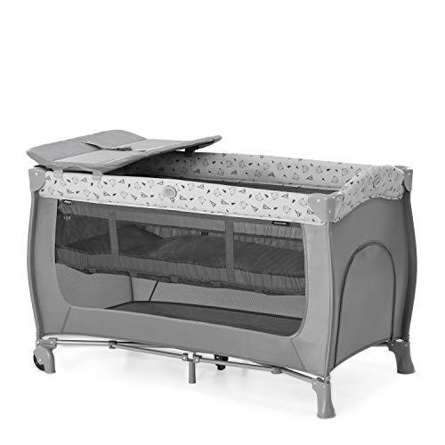 Hauck Sleep N Play Center 7-teiliges Kombi-Reisebett bis 15 kg, mit Neugeborenen-Einsatz, Schlupf, Wickelauflage, Rollen, Faltboden, Tragetasche, höhenverstellbar, faltbar - Grau