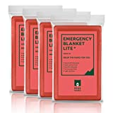 Bearhard Emergency Blanket Mylar Space Blankets 4-Pack Large Foil Thermal Survival Blankets for Camping Hiking or Outdoor Rescue Red