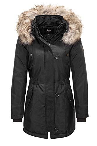 ONLY Damen Parka Winterjacke Kurzmantel Wintermantel Kapuzenjacke (Small, Black)