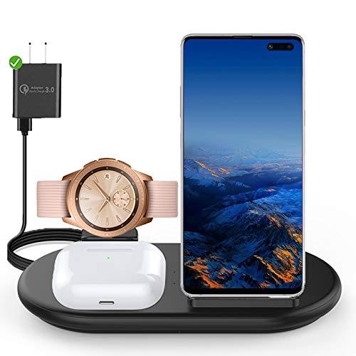Caricabatterie Wireless 3 in 1 per Samsung, Caricatore Wireless Stazione di Ricarica Compatibile con Samsung Galaxy Watch 1 3 Active 1 2 Samsung S10 S9 S8 Note9 Galaxy Buds Airpods iPhone 12 (Black)