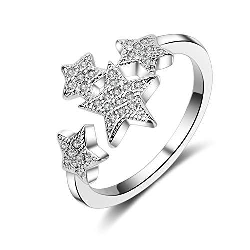 petit un compact Weiss Moon Bague ajustable en argent sterling pour dames Bijoux MoonStar Zircon Micro Pave Diamond