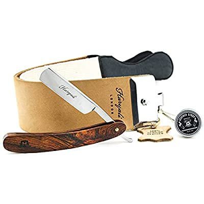 Barber Style Cut Throat Razor with XXL Sharping Pure Leather Strop & Paste for All Kind of Deep Shave. Perfect Shaving Kit for Men.