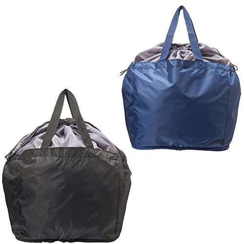 【AOTOBAG】 TVで 洗える レジカゴ マイバッグ 2個セット ( 黒・紺)