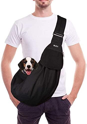 SlowTon Bolsos para Mascotas Transportín para Perros Pet Carrier Dog Hand Sling Carrier Bandolera Correa de Hombro Acolchada Ajustable Tote Bag con Bolsillo Delantero Puppy Carrier