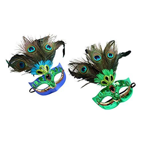 FOMIYES 2 Piezas Máscaras de Plumas de Pavo Real para Mujer Divertidas Máscaras de Disfraces Lentejuelas Cosplay Veneciano para Halloween Carnaval Disfraz Fiesta Cosplay Navidad